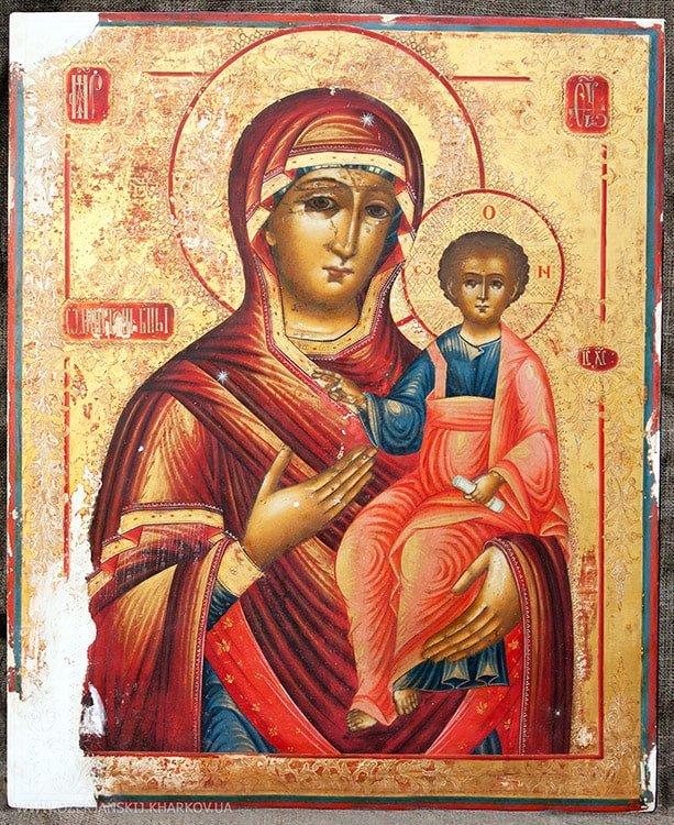 Икона Богородицы «Одигитрия» Ветковской школы, до реставрации