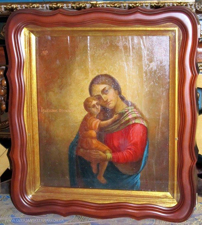 Икона Богородицы «Взыскание погибших», после реставрации, в раме