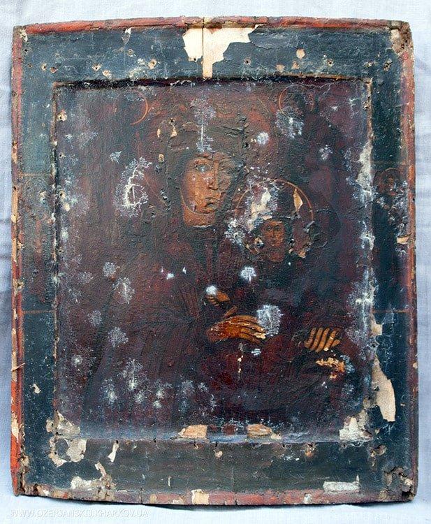 Икона Богородицы «Одигитрия», 18 век, до реставрации