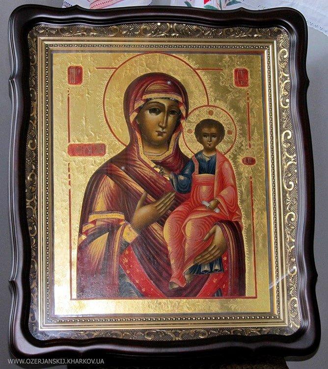 Икона Богородицы «Одигитрия» Ветковской школы, после реставрации, в раме